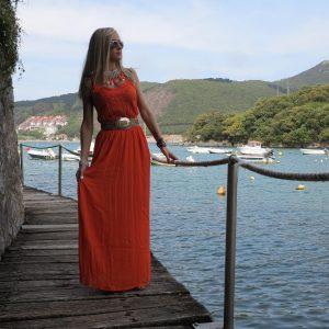 Vestido boho largo coral