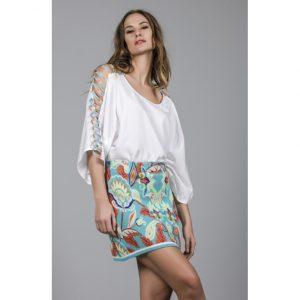 falda floral menta