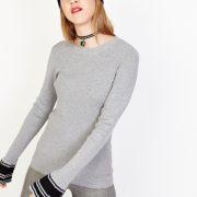 jersey-de-punto-contraste-en-manga gris